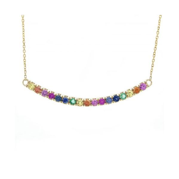 Multicolor Gemstone Curve Necklace Jae's Jewelers Coral Gables, FL