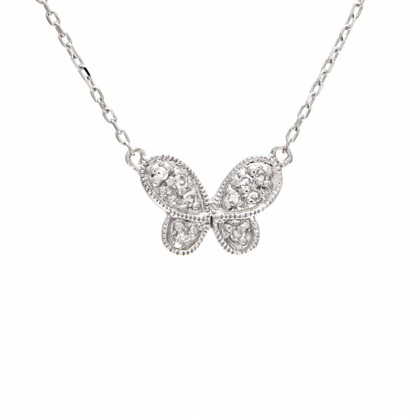 White Gold and Diamond Butterfly Necklace Jae's Jewelers Coral Gables, FL