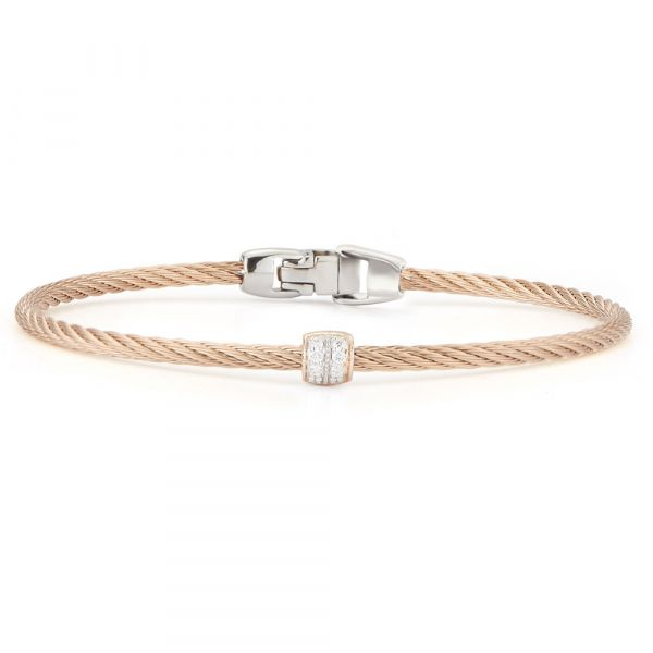 18 Karat Rose Gold and Rose Cable Bracelet with Diamonds Jae's Jewelers Coral Gables, FL