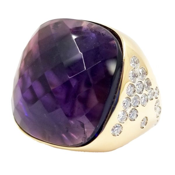 Cushion Cut Checkerboard Amethyst and Diamond Ring Jae's Jewelers Coral Gables, FL