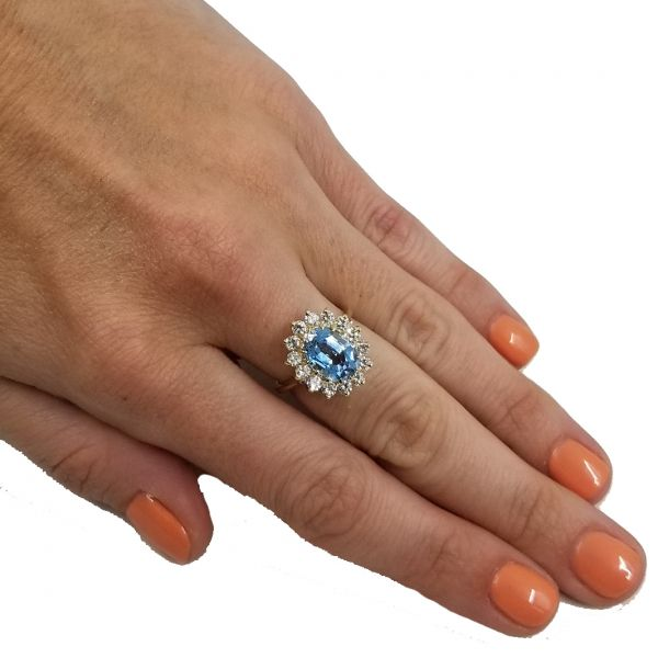 Aquamarine With Diamond Halo Ring Image 3 Jae's Jewelers Coral Gables, FL