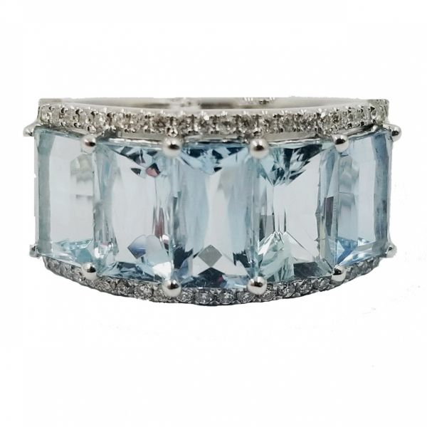 Aquamarine band with diamonds Jae's Jewelers Coral Gables, FL