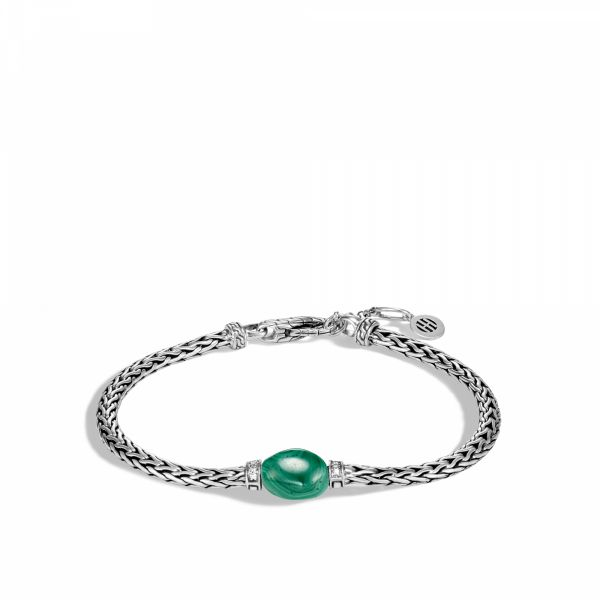 Classic Chain Bracelet with Malachite and Diamond Jae's Jewelers Coral Gables, FL