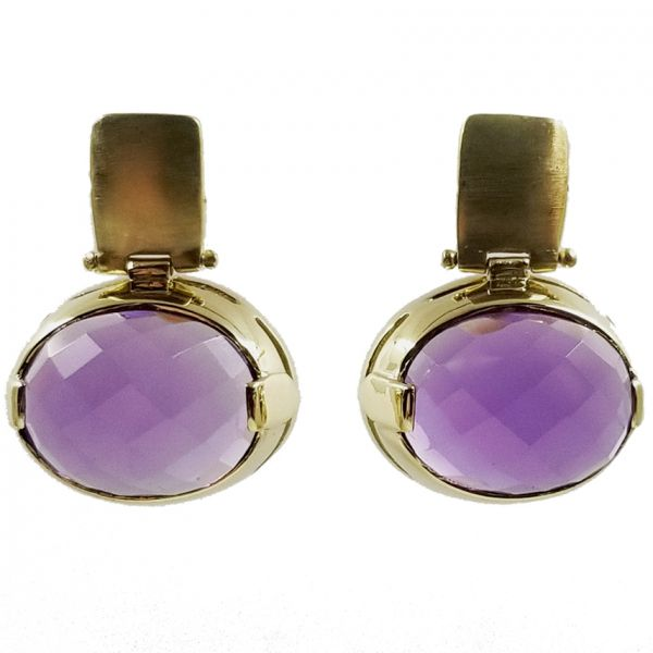 Brushed Gold Amethyst Earrings Jae's Jewelers Coral Gables, FL