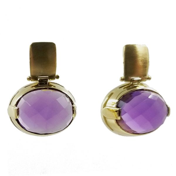 Brushed Gold Amethyst Earrings Image 2 Jae's Jewelers Coral Gables, FL