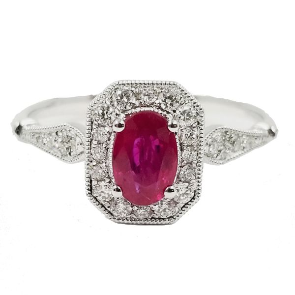 Cushion Ruby Halo Ring Jae's Jewelers Coral Gables, FL