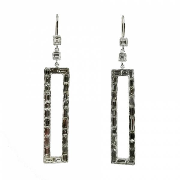 Diamond Baguette Dangle Earrings Jae's Jewelers Coral Gables, FL