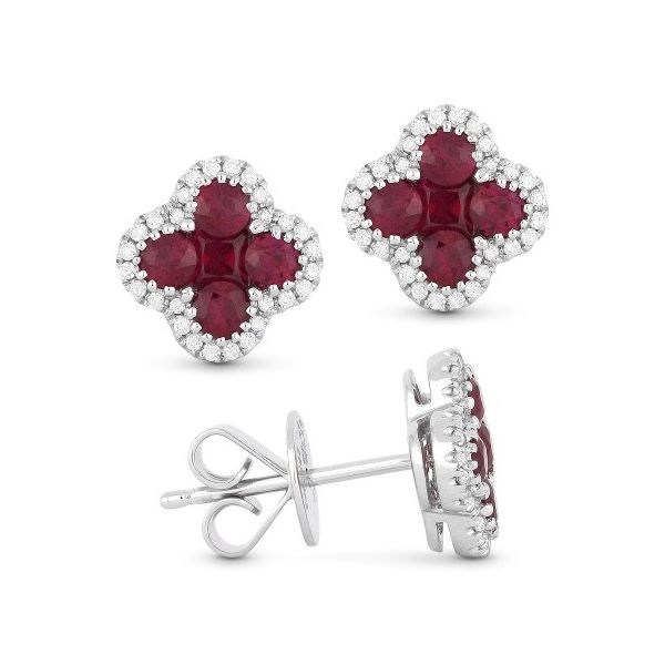 White Gold, Rubies and Diamond Earrings Jae's Jewelers Coral Gables, FL