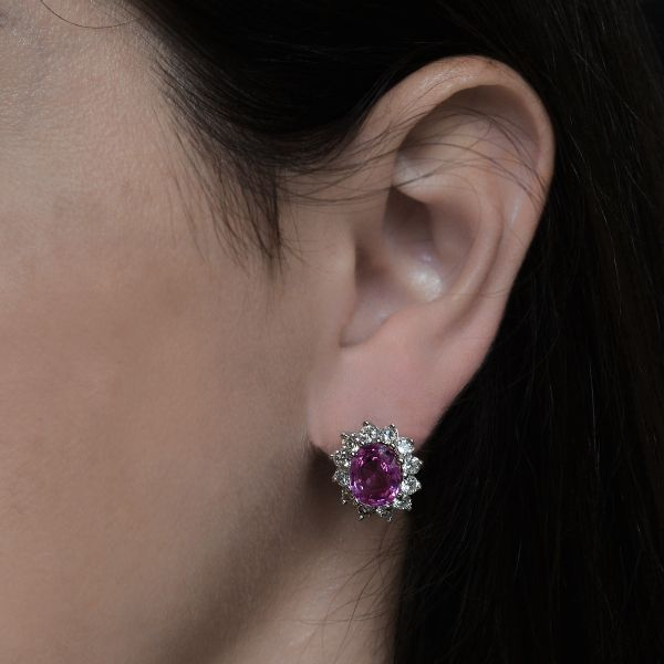 Pink Sapphire Earrings Image 2 Jae's Jewelers Coral Gables, FL