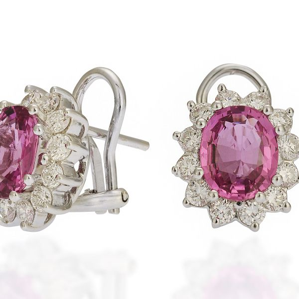 Pink Sapphire Earrings Image 3 Jae's Jewelers Coral Gables, FL
