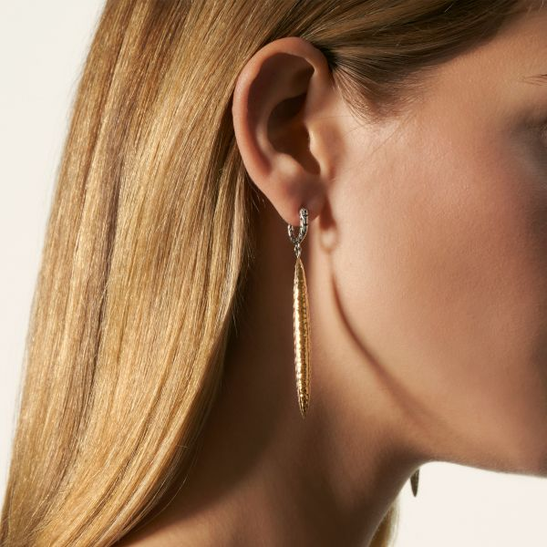 Classic Chain Hammered Drop Earring Image 2 Jae's Jewelers Coral Gables, FL