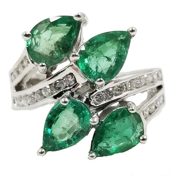 Pear Shaped Emerald Wrap Ring Jae's Jewelers Coral Gables, FL