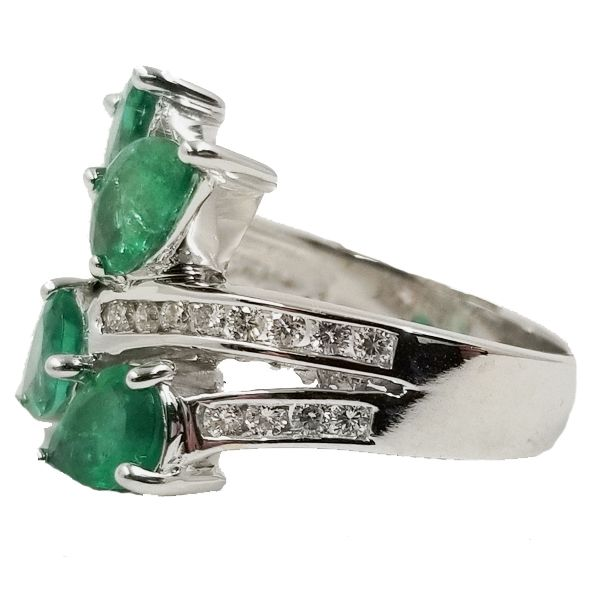 Pear Shaped Emerald Wrap Ring Image 2 Jae's Jewelers Coral Gables, FL