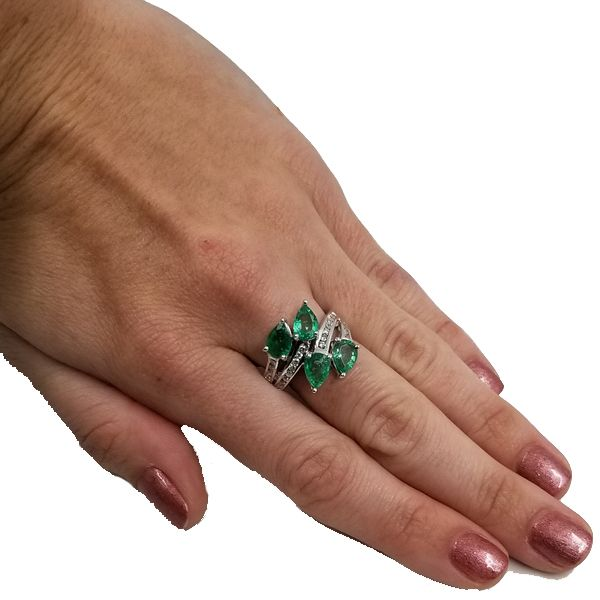 Pear Shaped Emerald Wrap Ring Image 3 Jae's Jewelers Coral Gables, FL