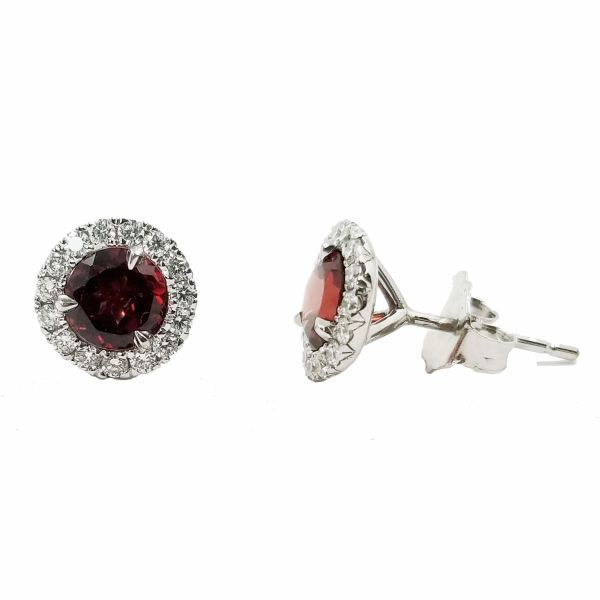Garnet Stud Earrings Image 2 Jae's Jewelers Coral Gables, FL