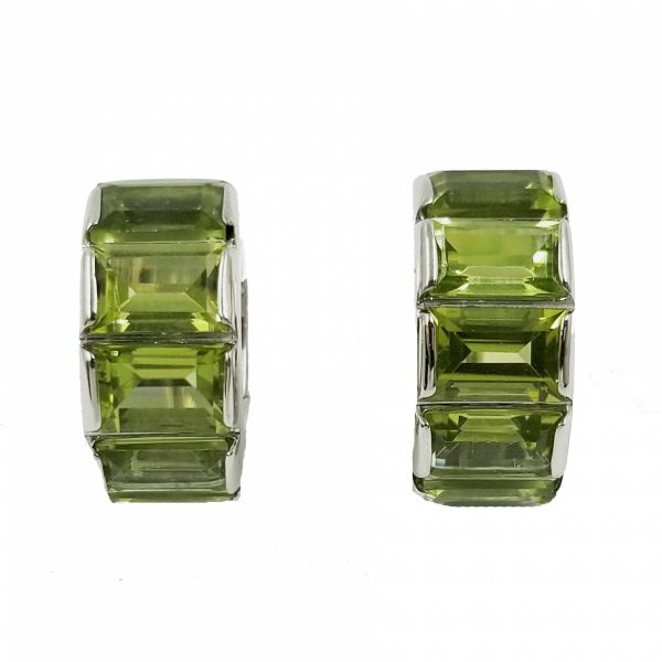 Green Tourmaline Huggie Hoop Earrings Jae's Jewelers Coral Gables, FL