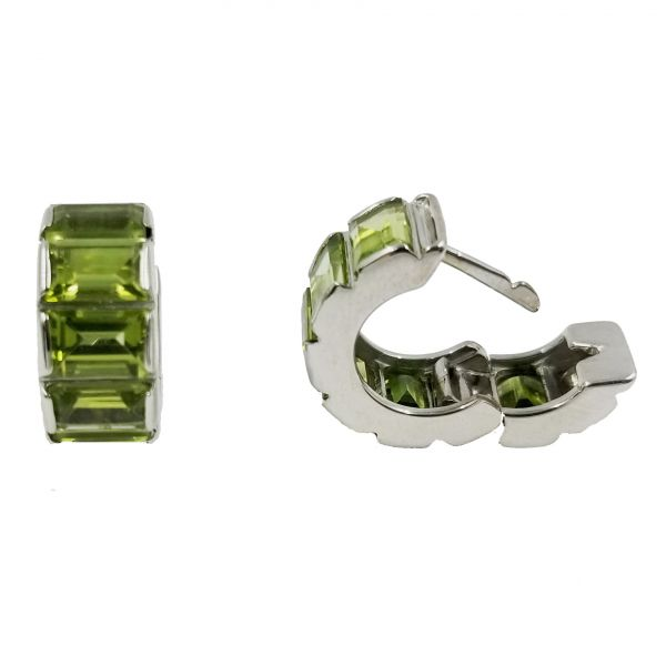 Green Tourmaline Huggie Hoop Earrings Image 2 Jae's Jewelers Coral Gables, FL