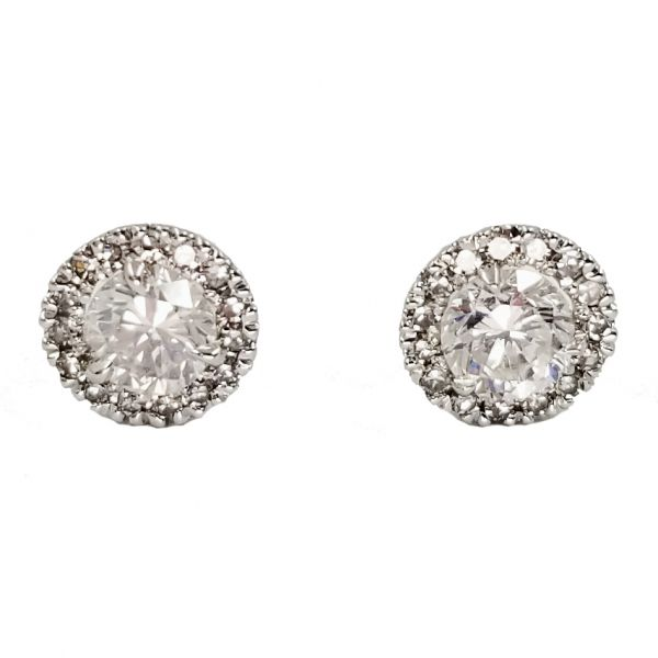 0.96 Carat Diamond Earrings with Diamond Halo Jae's Jewelers Coral Gables, FL