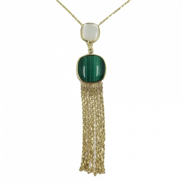 Malachite and Mother of Pearl Dangle Necklace Jae's Jewelers Coral Gables, FL
