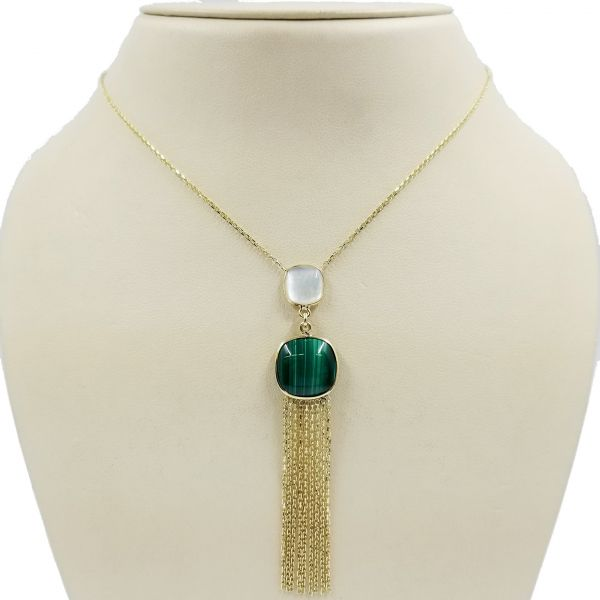 Malachite and Mother of Pearl Dangle Necklace Image 2 Jae's Jewelers Coral Gables, FL