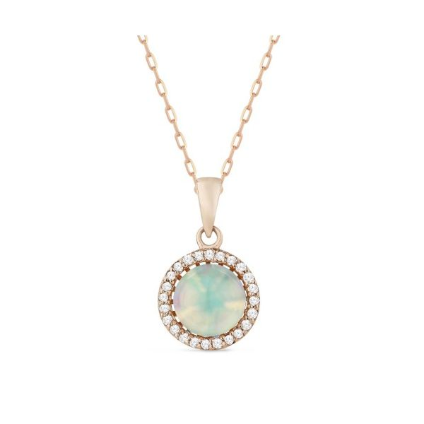 Rose gold Cabochon opal and diamond necklace Jae's Jewelers Coral Gables, FL