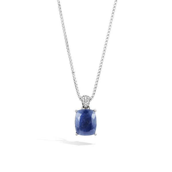Magic Cut Pendant Necklace with Blue Sapphire and Diamonds Jae's Jewelers Coral Gables, FL