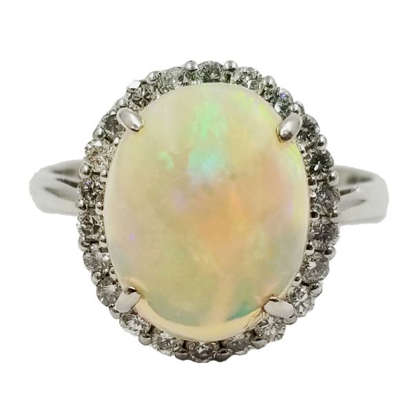 Opal and Diamond Halo Ring Jae's Jewelers Coral Gables, FL