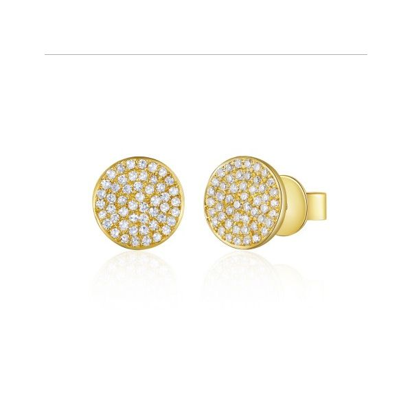 Pave Diamond Stud Earrings Yellow Gold Jae's Jewelers Coral Gables, FL
