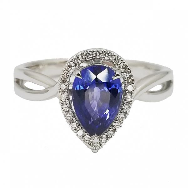 Pear Shaped Sapphire and Diamond Ring Jae's Jewelers Coral Gables, FL