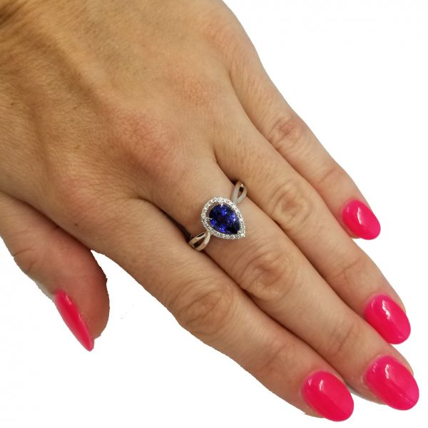 Pear Shaped Sapphire and Diamond Ring Image 2 Jae's Jewelers Coral Gables, FL