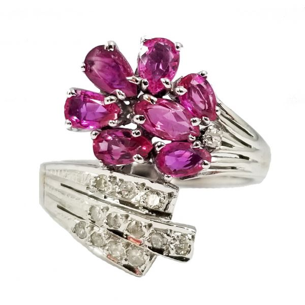 Pink Sapphire and Diamond Flower Ring Jae's Jewelers Coral Gables, FL