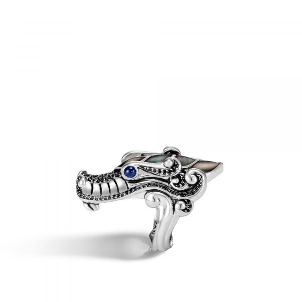 Naga Ring with Grey Mother of Pearl and Black Sapphire Image 2 Jae's Jewelers Coral Gables, FL