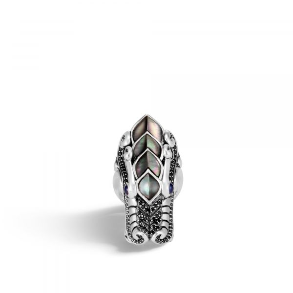 Naga Ring with Grey Mother of Pearl and Black Sapphire Image 3 Jae's Jewelers Coral Gables, FL