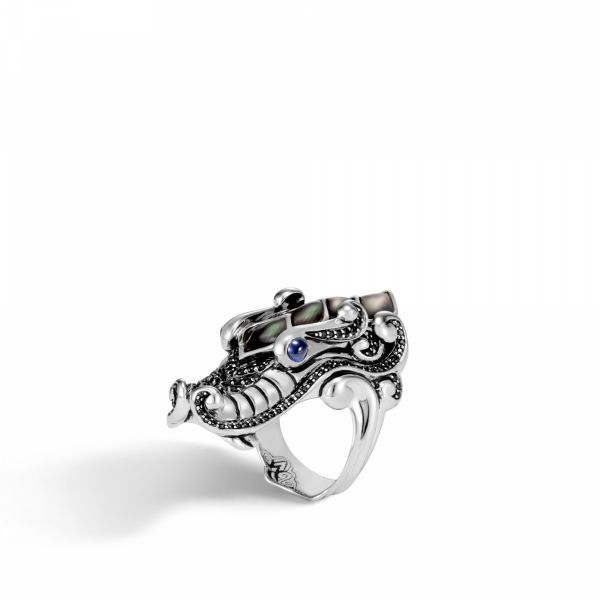 Naga Ring with Grey Mother of Pearl and Black Sapphire Jae's Jewelers Coral Gables, FL