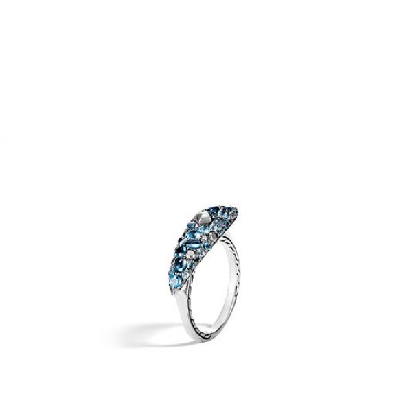 Classic Chain Ring with Mixed Blue Topaz, Silver Calcite Image 3 Jae's Jewelers Coral Gables, FL
