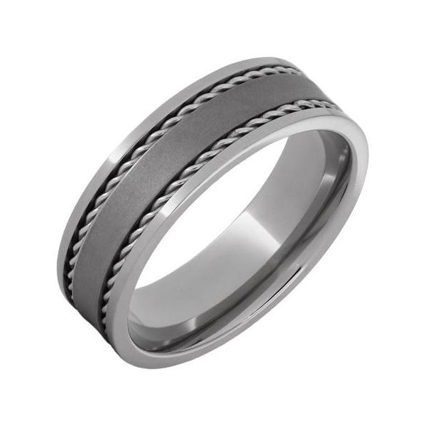 Men's 7mm Steel Rope Inlay Band Jae's Jewelers Coral Gables, FL