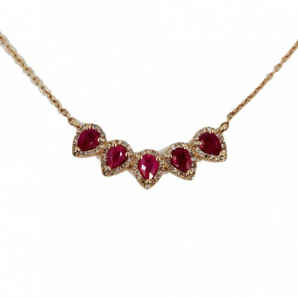 Ruby Five Stone Necklace Jae's Jewelers Coral Gables, FL