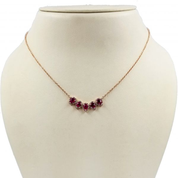 Ruby Five Stone Necklace Image 2 Jae's Jewelers Coral Gables, FL