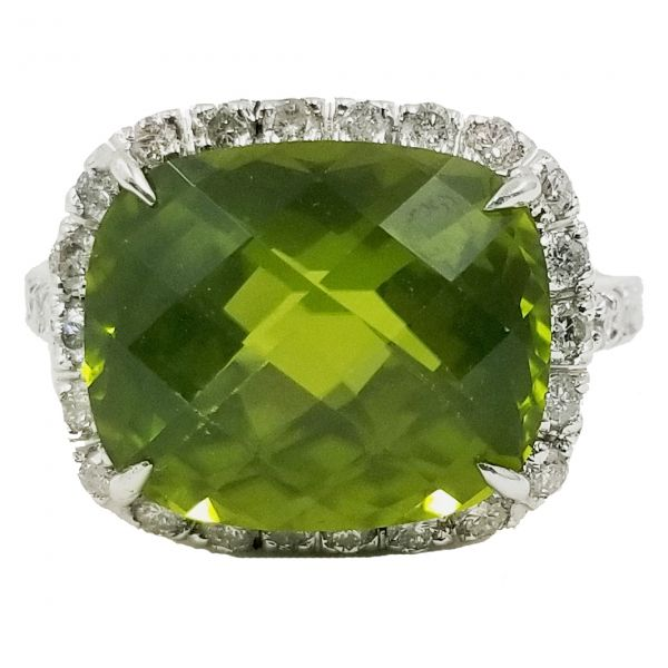 Tourmaline With Diamond Halo Ring Jae's Jewelers Coral Gables, FL