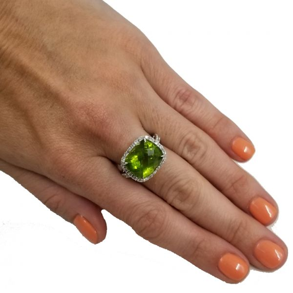 Tourmaline With Diamond Halo Ring Image 3 Jae's Jewelers Coral Gables, FL