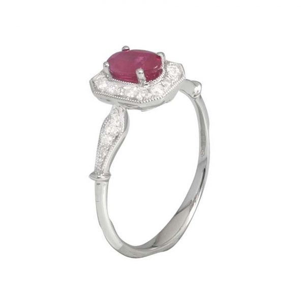 Cushion Ruby Halo Ring Image 3 Jae's Jewelers Coral Gables, FL