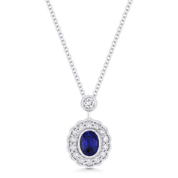 Vintage Inspired Blue Sapphire Necklace Jae's Jewelers Coral Gables, FL