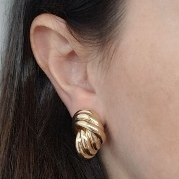 Yellow Gold Knot Earrings Image 2 Jae's Jewelers Coral Gables, FL