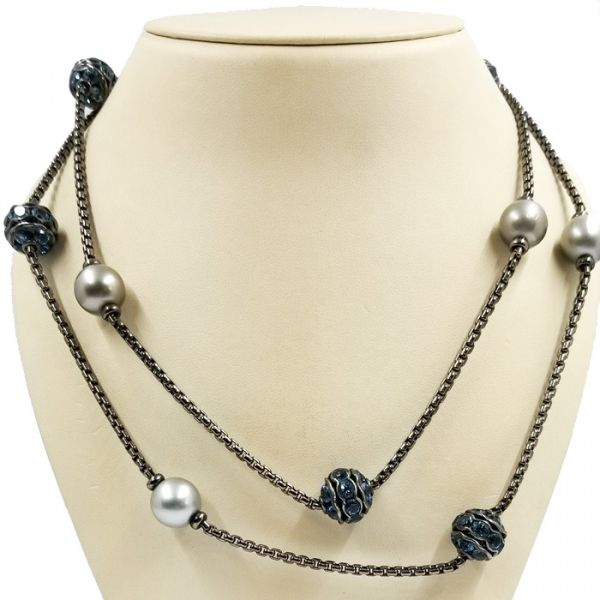 David Yurman Tahitian Pearl and Blue Topaz Necklace Jae's Jewelers Coral Gables, FL