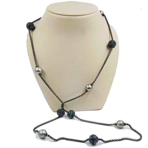 David Yurman Tahitian Pearl and Blue Topaz Necklace Image 2 Jae's Jewelers Coral Gables, FL