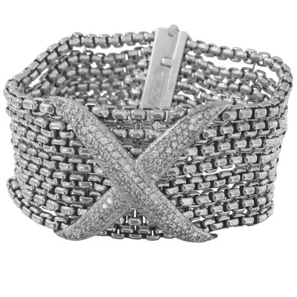 David Yurman Sterling Silver Box Row Chain with Diamond X Pave Bracelet Jae's Jewelers Coral Gables, FL