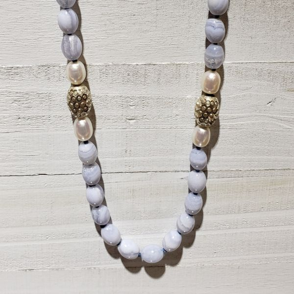 Lady's Silver And Fwp Blue Lace Agate Strand Length 35 The Jewelry Source El Segundo, CA