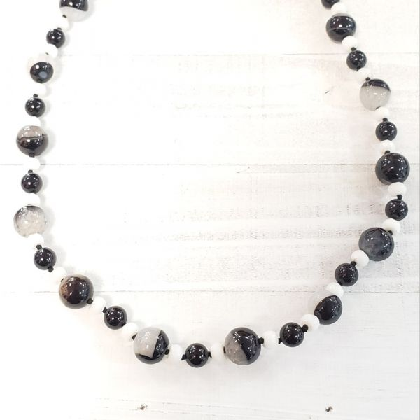 Black Onyx Quartz/White Agate 21 Silver Mag Clasp Jewelry The Jewelry Source El Segundo, CA