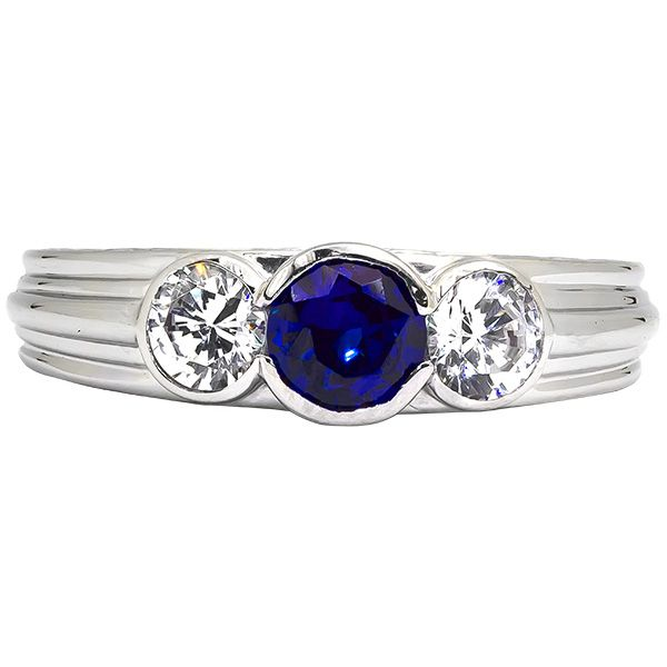Sapphire and Diamond Three Stone Ring Johnny's Lakeshore Jewelers South Haven, MI