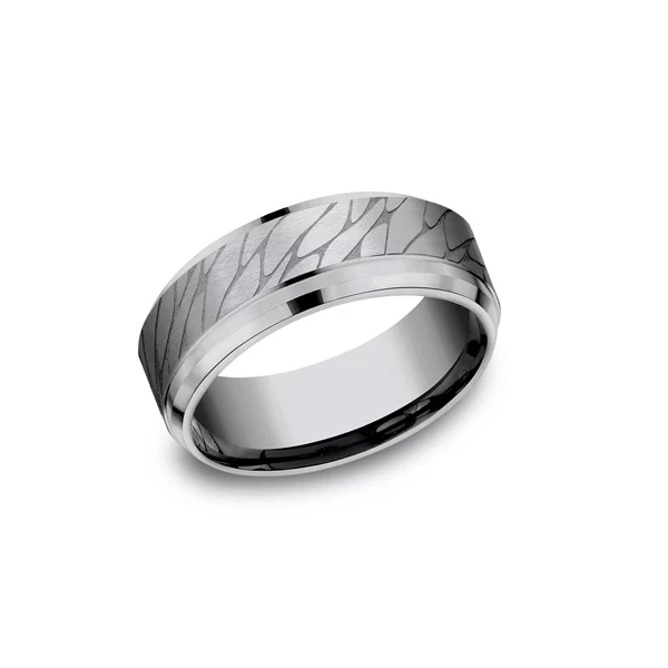Tantalum Band with Cracked Pattern Finish Johnnys Lakeshore Jewelers South Haven, MI